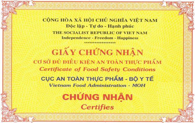 Cấp giấy chứng nhận an toàn vệ sinh thực phẩm tại Vĩnh Phúc View 1
